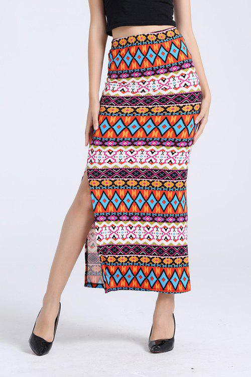 Elegant High-Waisted Packet Buttocks Printed Pencil Women's Long Slit Skirt - COLORMIX ONE SIZE(FIT SIZE XS TO M)