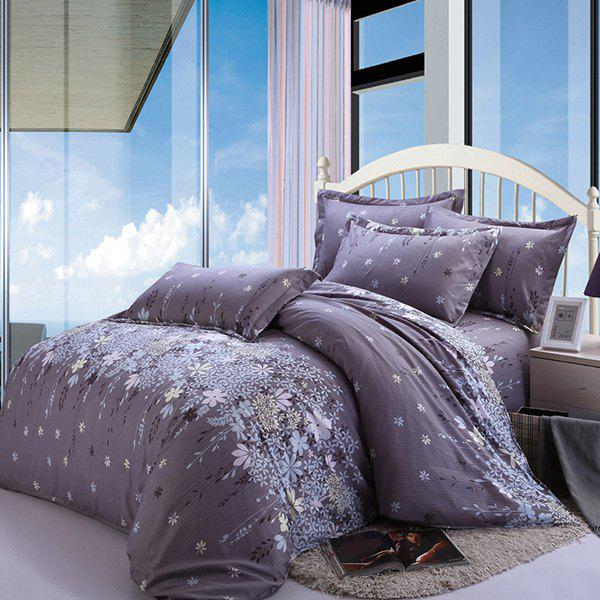 New Floral Pattern Cotton 4 Pcs Duvet Cover Sets ( Without Comforter ) - LIGHT PURPLE FULL