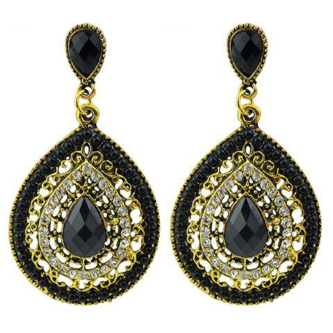 Faux Gemstone Teardrop Drop Earrings - BLACK