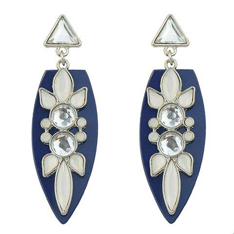 Pair of Stylish Triangle Leaf Shape Faux Gemstone Earrings For Women - BLUE