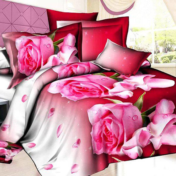 Sweet 3D Oil Painting Rosebud Pattern 4 Pcs Duvet Cover Sets ( Without Comforter ) - RED/WHITE FULL