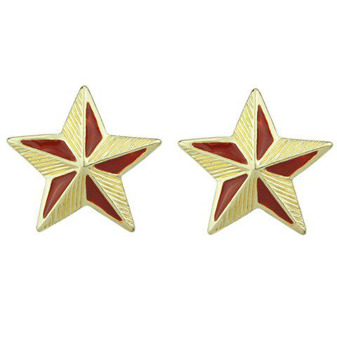 Pair of Attractive Star Stud Earrings For Women - RED