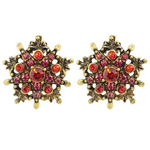 Pair of Vintage Rhinestone Star Women's Earrings - RED