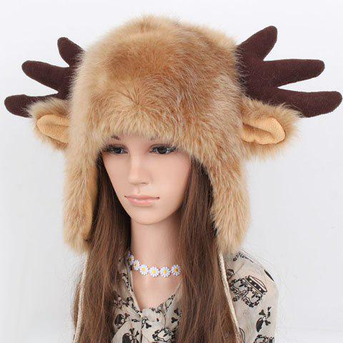 Chic Deer Horn and Ear Shape Embellished Women's Downy Trapper Hat - CAMEL