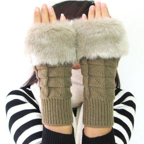 Pair of Chic Faux Fur Splice Knitted Women's Short Fingerless Gloves - COLOR ASSORTED