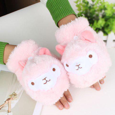 Pair of Cute Alpaca Head Shape Embellished Women's Downy Clamshell Gloves - PINK