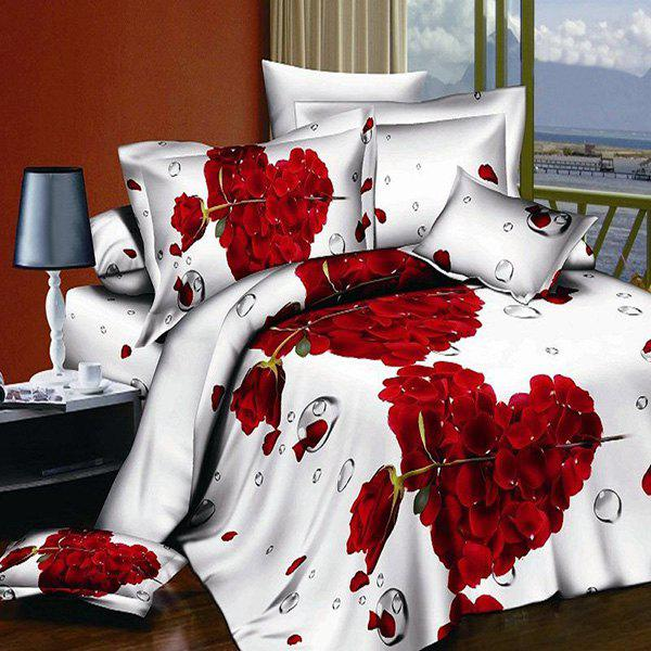 Elegant 3D Oil Painting Rose Pattern 4 Pcs Duvet Cover Sets ( Without Comforter ) - RED/WHITE FULL