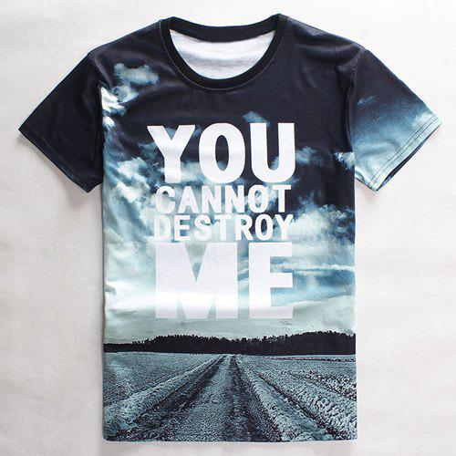 Round Neck 3D Sky Letter Print Slimming Short Sleeve Men's Graphic T-Shirt - AZURE L