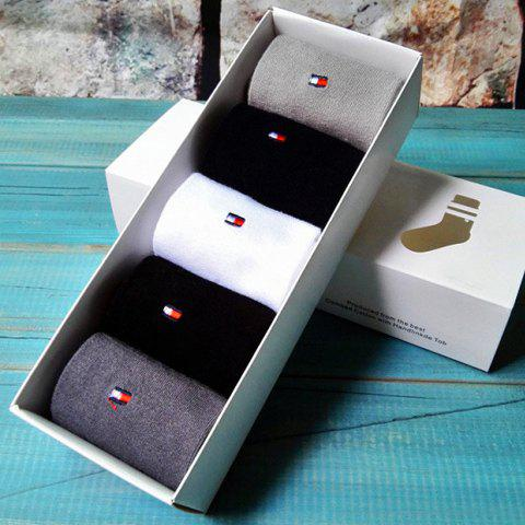 One Box Stylish Embroidery Embellished Color Splice Socks For Men - COLORMIX