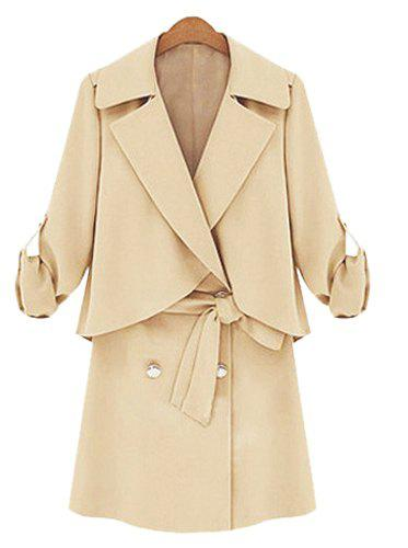 Elegant Lapel Long Sleeve Double-Breasted Spliced Women's Coat - APRICOT XL