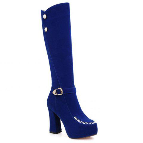 Stylish Buckle and Faux Pearl Design Knee-High Boots For Women - BLUE 35