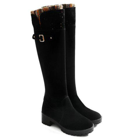 Stylish Hollow Out and Flowers Design Knee-High Boots For Women - BLACK 39