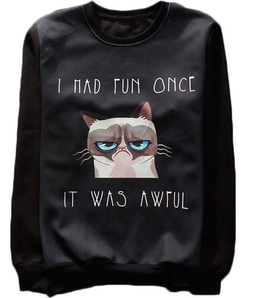 Fitted Fashion Round Neck 3D Cartoon Cat Print Long Sleeve Men's Cotton Blend Sweatshirt - BLACK XL