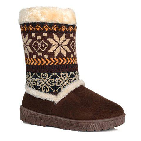 Sweet Printed and Knitting Design Snow Boots For Women - BROWN 38