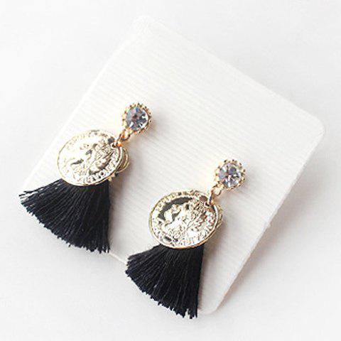 Pair of Vintage Rhinestone Coin Tassel Earrings For Women - BLACK