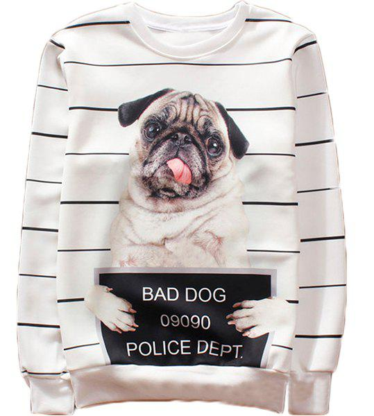 Fitted Trendy Round Neck 3D Dog and Stripe Print Long Sleeve Men's Cotton Blend Sweatshirt - WHITE XL
