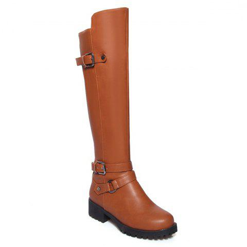 Concise Buckle and Rivets Design Knee-High Boots For Women - BROWN 39