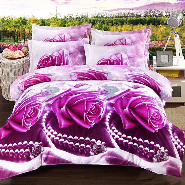 Simple 3D Oil Painting Pearl and Rose Pattern 4 Pcs Duvet Cover Sets ( Without Comforter ) - FULL VIOLET ROSE