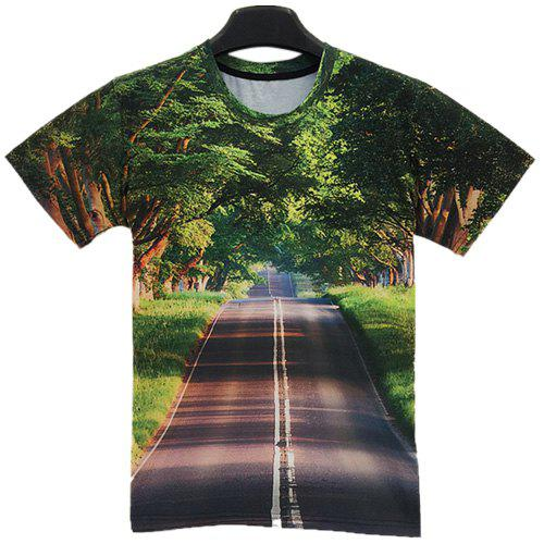 Round Neck 3D Avenue Print Slimming Short Sleeve Men's T-Shirt