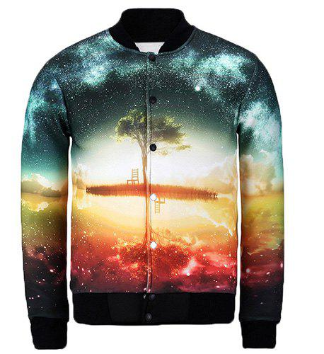 Stand Collar Colorful 3D Starry Sky Print Slimming Jacket - GREEN S