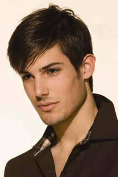 Natural Black Handsome Inclined Bang Short Heat Resistant Synthetic Straight Capless Wig For Men