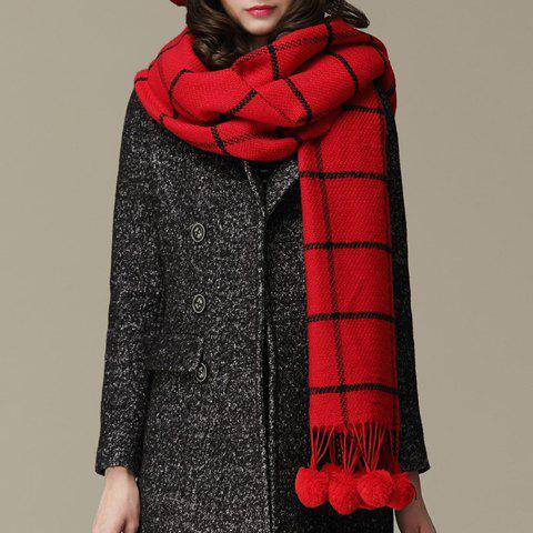 Chic Pompon Pendant Embellished Gingham Pattern Faux Cashmere Women's Scarf - RED