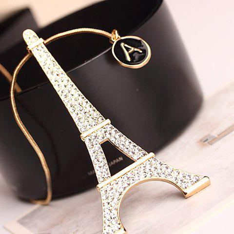 Stylish Tower Pendant Rhinestone Sweater Chain For Women - GOLDEN