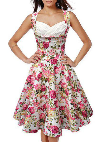 Stylish Sleeveless Sweetheart Neck Floral Print Women's Dress