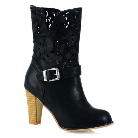 Gracefult Hollow Out and Buckle Design Women's Mid-Calf Boots - BLACK 34