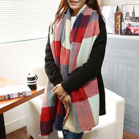 Chic Color Splice Plaid Pattern Fringed Women's Scarf - WINE RED