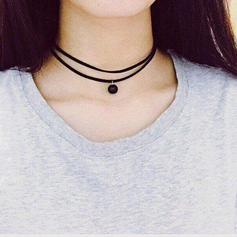 Double-Layered Bead Choker Necklace - BLACK
