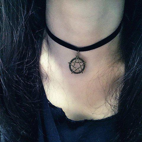 Vintage Velvet Ribbon Pentacle Pendant Choker Necklace For Women - BLACK