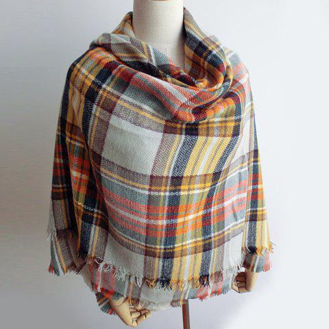Chic Various Color Tartan Pattern Fringed Multifunctional Women's Scarf - WHITE