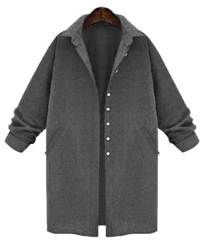 Brief Style Long Sleeve Turn-Down Collar Pure Color Women's Wool Coat - GRAY XL