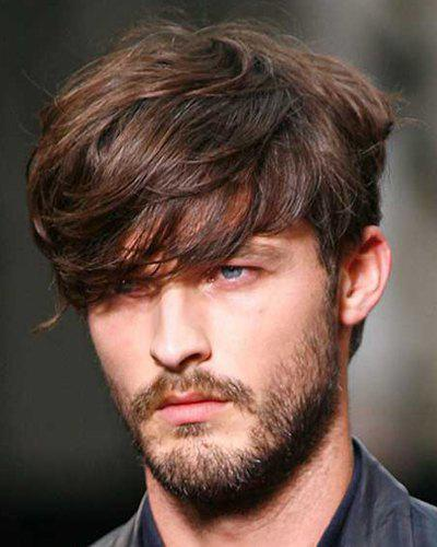 Fluffy Natural Wavy Capless Deep Brown Mixed Trendy Synthetic Short Inclined Bang Wig For Men - COLORMIX