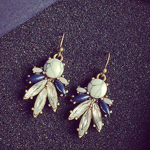 Pair of Chic Faux Crystal Leaf Earrings For Women - WHITE