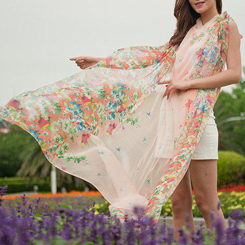 Chic Colorful Flower Printed Women's Chiffon Scarf - PINK