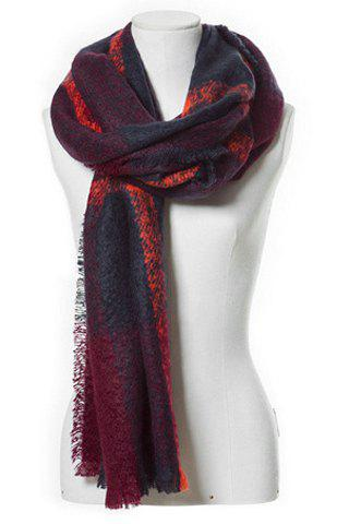 Chic Color Block Plaid Pattern Fringed Loop Yarn Women's Scarf - WINE RED
