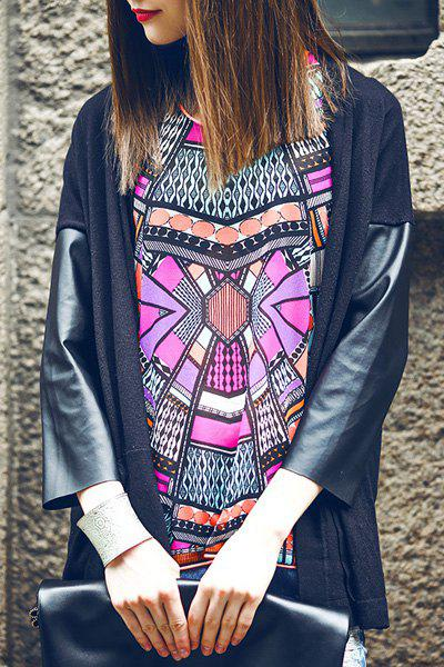 Fascinating 3/4 Sleeve Splicing Design Loose -Fitting Cardigan For Women