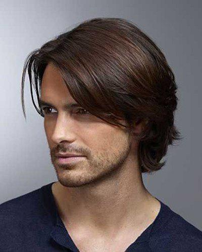 Stylish Deep Brown Mixed Inclined Bang Short Capless Natural Straight High Temperature Fiber Men's Wig short pixie cut capless straight inclined bang synthetic wig