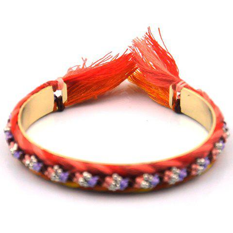 Stylish Knitted Bead Cuff Bracelet For Women - RED