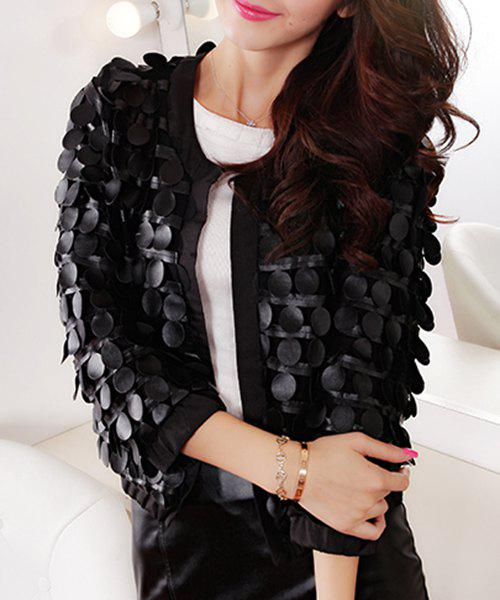 Chic Women's Jewel Neck 3/4 Sleeve Roundness Faux Leather Jacket - BLACK L