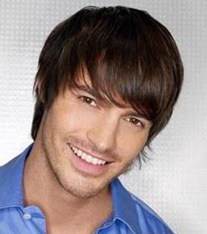 Brown Mixed Black Side Bang Short Masculine Capless Straight Heat Resistant Synthetic Men's Wig - COLORMIX