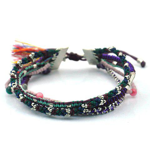 Classic Knitted Bead Tassel Splice Layered Bracelet For Women