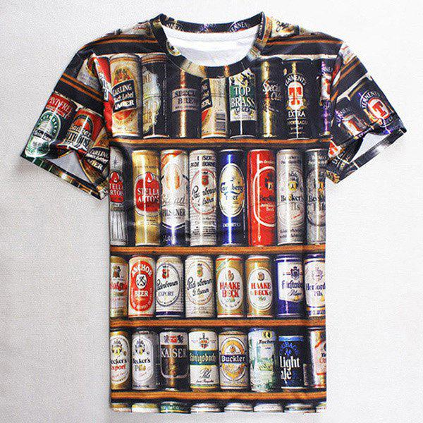 3D Beer Print Slimming Round Neck Short Sleeve Men's T-Shirt - M COLORMIX