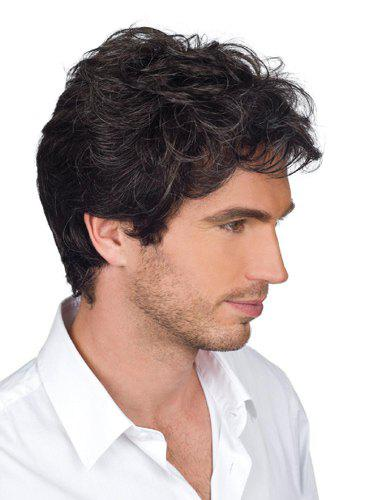 Handsome Short Side Bang Heat Resistant Synthetic Shaggy Wavy Capless Men's Wig - BLACK