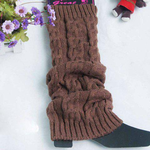 Pair of Chic Hemp Flower Pure Color Women's Knitted Leg Warmers