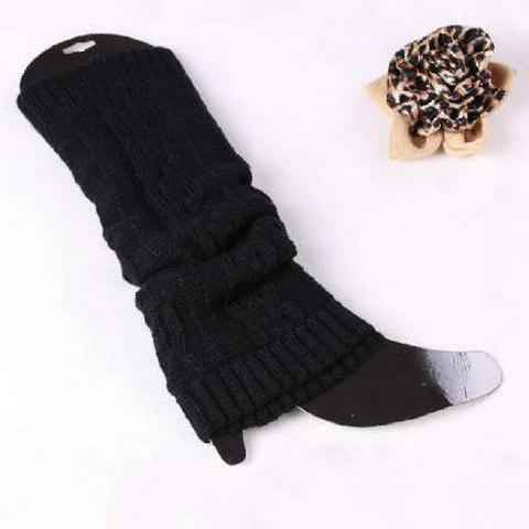 Pair of Chic Braid Shape Pure Color Women's Elastic Knitted Leg Warmers - BLACK
