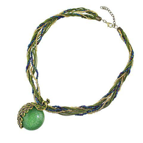 Chic Fashionable Layered Bead Decorated Peacock Pendant Necklace For Women - GREEN