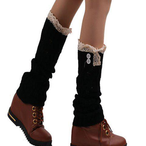 Pair of Chic Buttons and Lace Edge Embellished Hollow Out Women's Knitted Leg Warmers